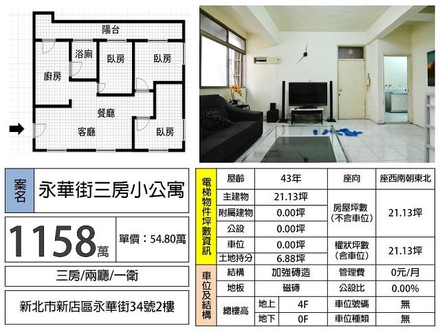 (Sold out)公寓物件推薦-永華街三房小公寓