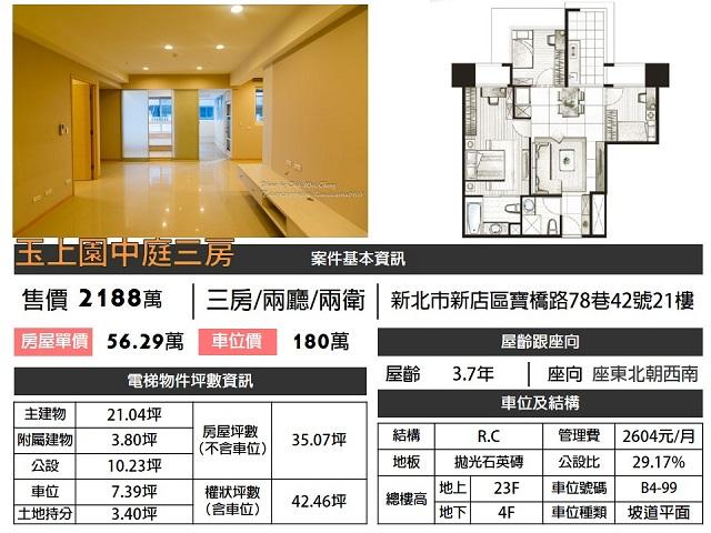 (Sold out)電梯物件推薦-玉上園中庭三房