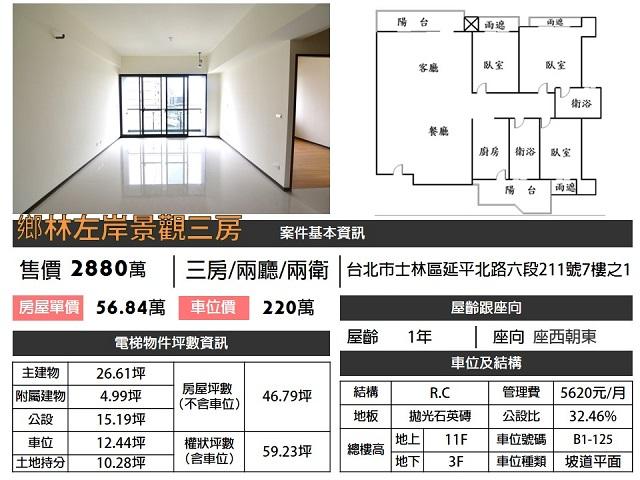 (Sold out)電梯物件推薦-鄉林左岸景觀三房 [士林]