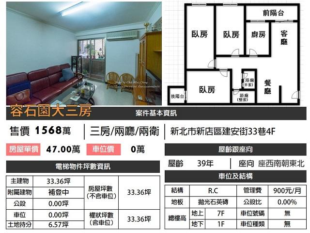 (Sold out)電梯物件推薦-容石園大三房