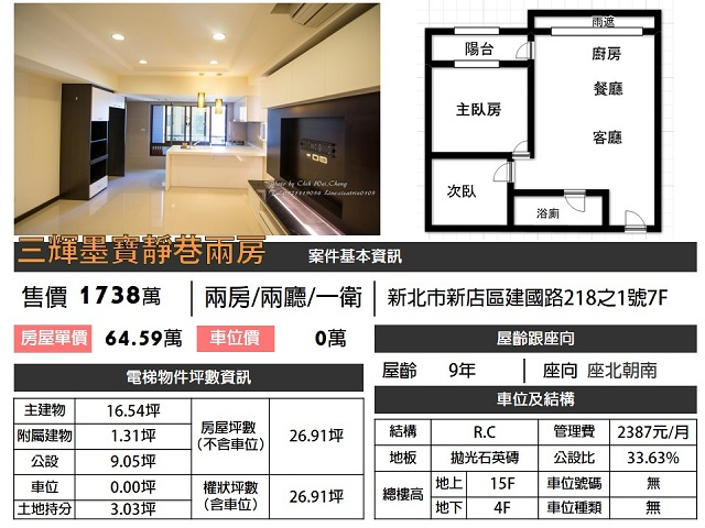 (Sold out)電梯物件推薦-三輝墨寶靜巷兩房