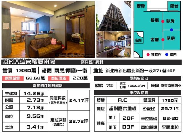 (Sold out)電梯物件推薦-霞飛大道二期高樓層兩房