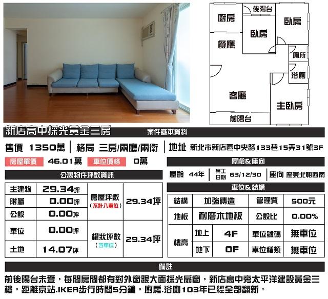 (Sold out)公寓物件推薦-新店高中採光黃金三房
