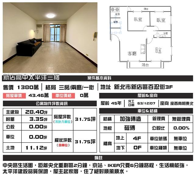 公寓物件推薦-新店高中太平洋三房
