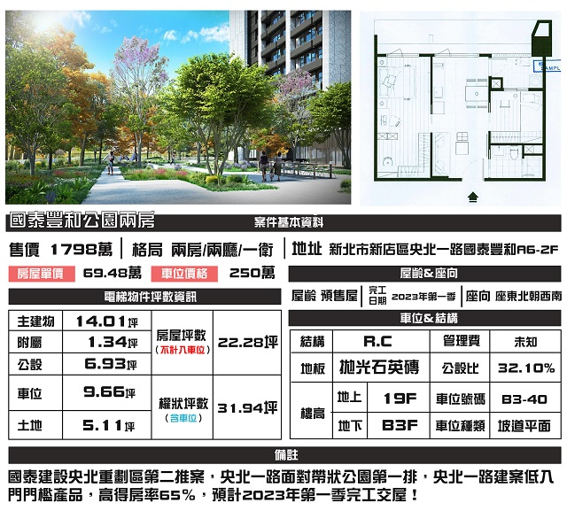 電梯物件推薦-國泰豐和公園兩房