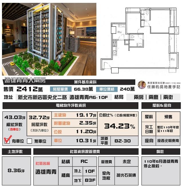 電梯物件推薦-遠雄青青大兩房