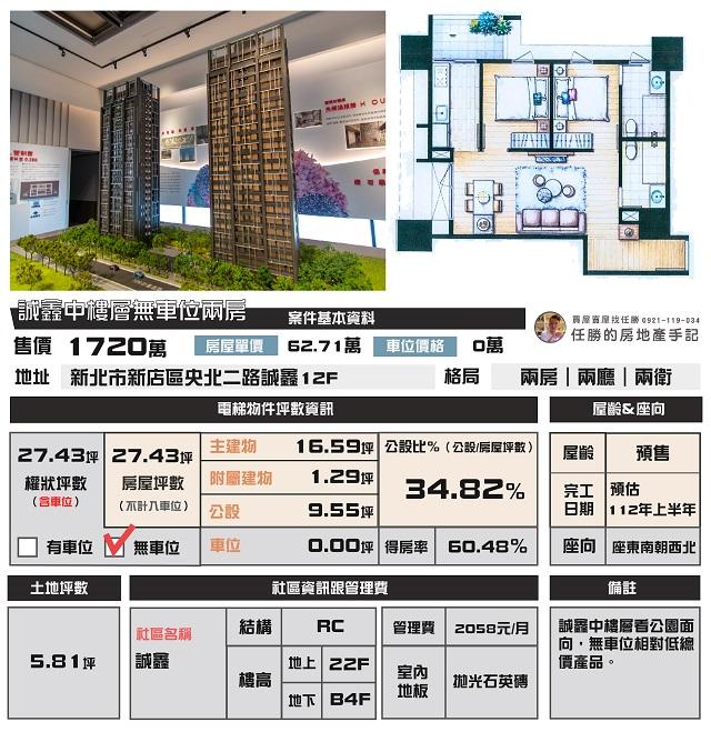 電梯物件推薦-誠鑫中樓層無車位兩房