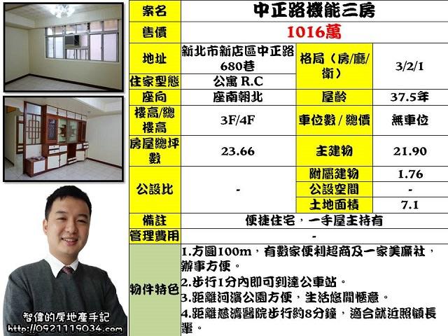 公寓物件推薦-中正路機能三房