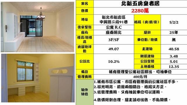 (Sold out)公寓物件推薦-北新五房皇者居