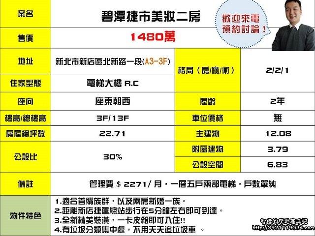 (Sold out)電梯物件推薦-碧潭捷市美妝兩房