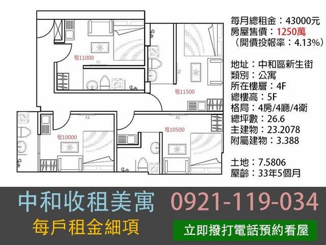 公寓物件推薦-中和收租美寓 [中和]