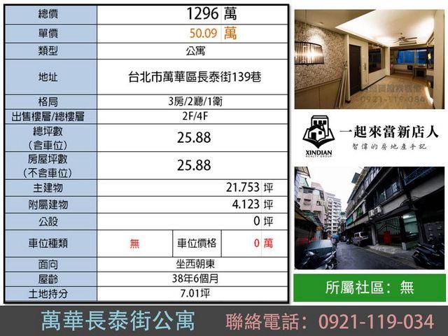 (Sold out)公寓物件推薦-萬華長泰街公寓 [台北市萬華區]