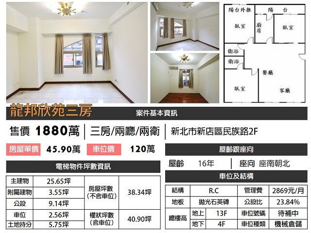 (Sold out)電梯物件推薦-龍邦欣苑三房